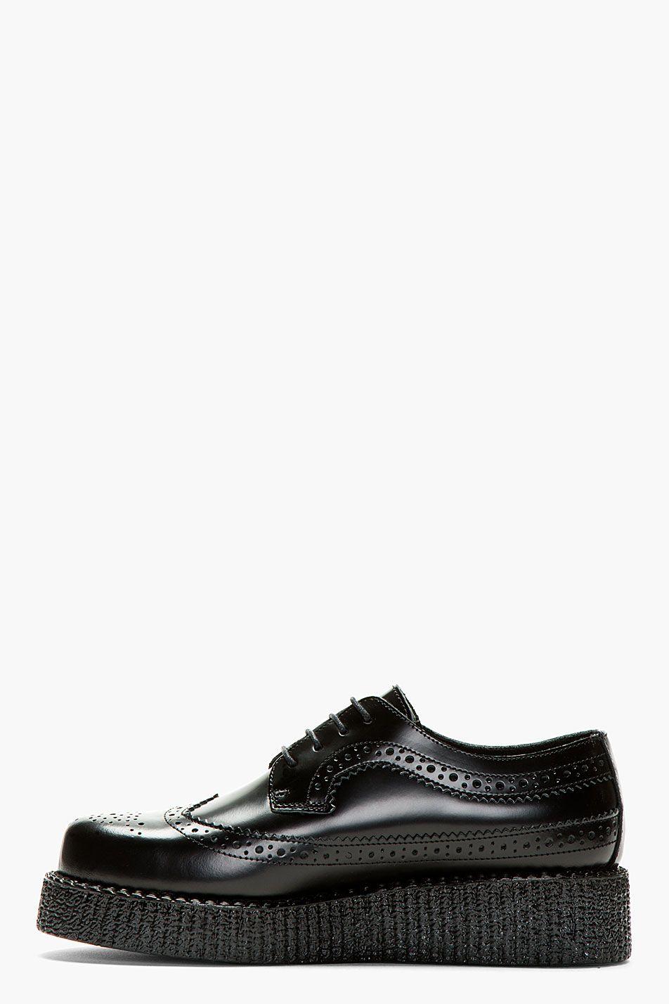 UNDERGROUND Black Buffed Leather Macbeth Wingtip Creeper Shoes ... 36f34c1d0c2
