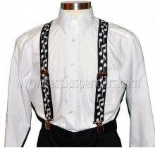 Music Suspenders - Bold Notes - Black