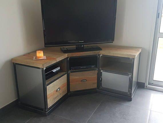 corner tv industrial steel and antique pine en 2019 a faire meuble de coin meuble tv et