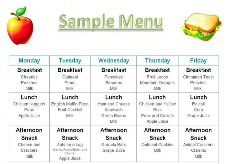 Menu Photos Printables Menus Daycares Home Daycare Food