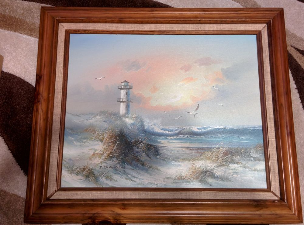 Details About B Thompson Oil On Canvas Framed Painting Lighthouse Seascape Seagull Beach Scene