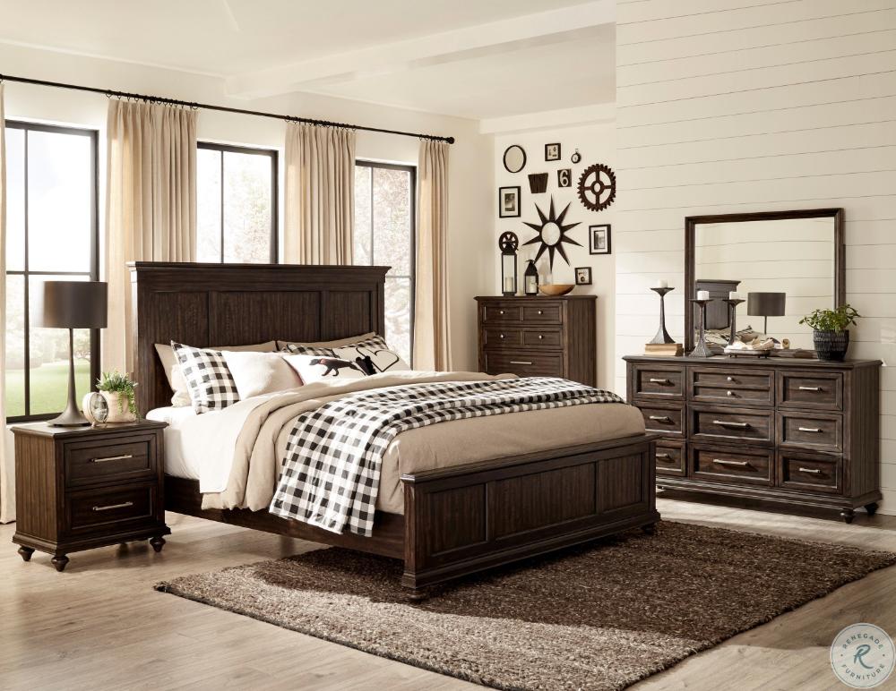 Stamford Brown King Panel Bed Brown Furniture Bedroom Wood Bedroom Sets Brown Master Bedroom