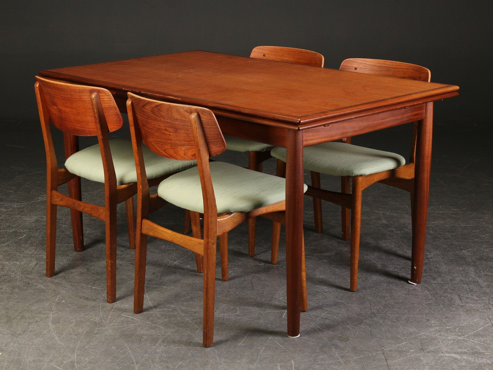 Vintage Dining Table 4 Matching Chairs Made Of Teak Wood Mid