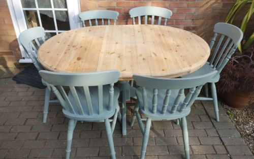 Large Round Oval Pine Dining Table And Six Chairs In Duck Egg Blue