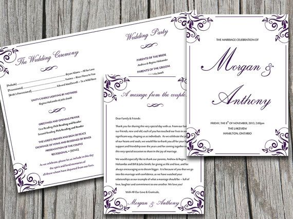 Fold Over Wedding Program Template Download Charlan Eggplant