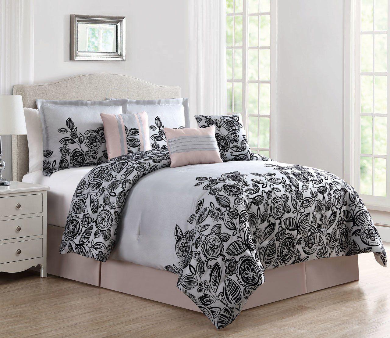 7 Piece Bertha Blush Gray Black Comforter Set Black Comforter Bed Comforters Black Comforter Sets
