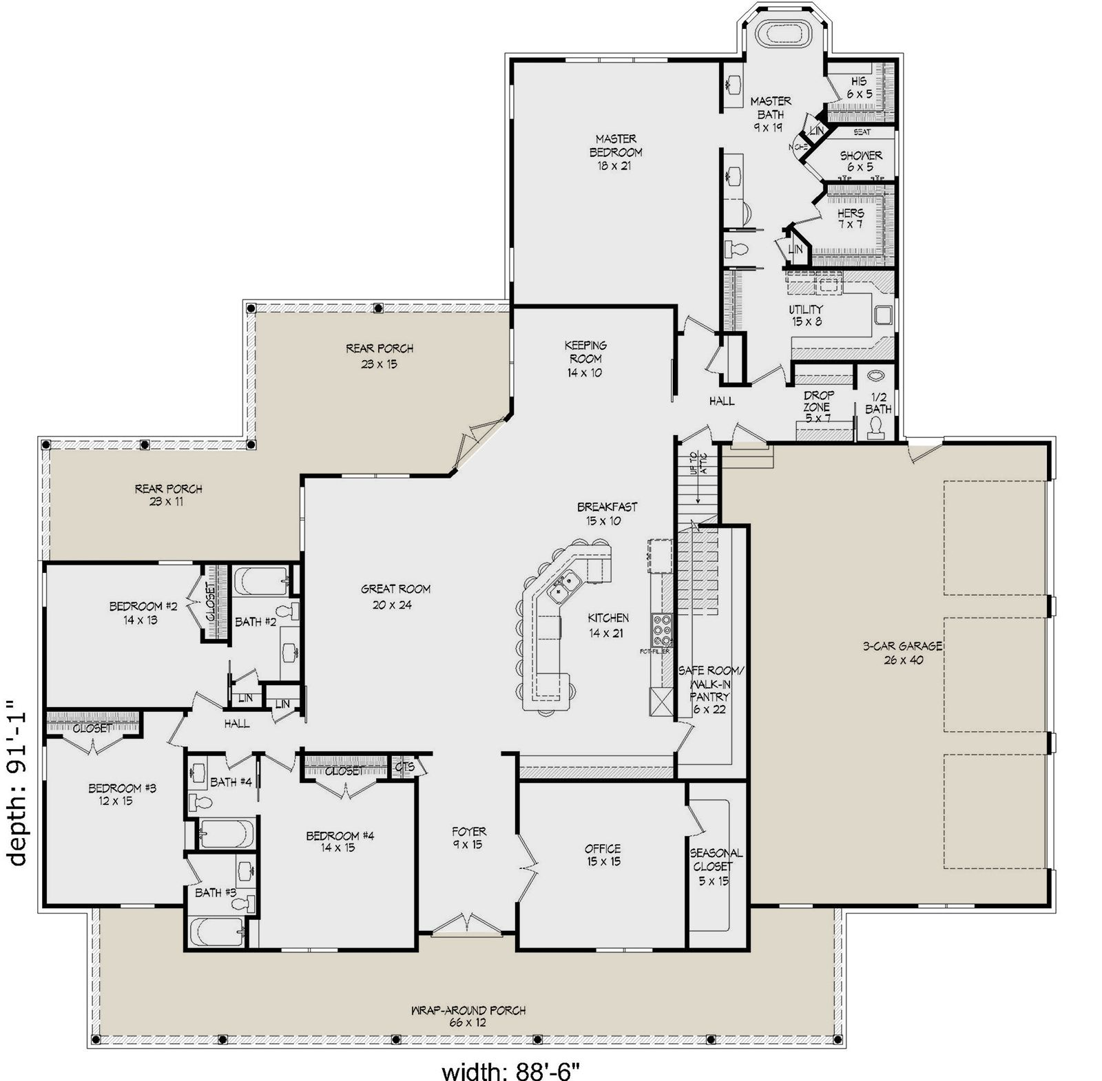 House Plan 940 00137 Country Plan 3 617 Square Feet 4 Bedrooms 4 5 Bathrooms House Plans Country Style House Plans Ranch Style House Plans