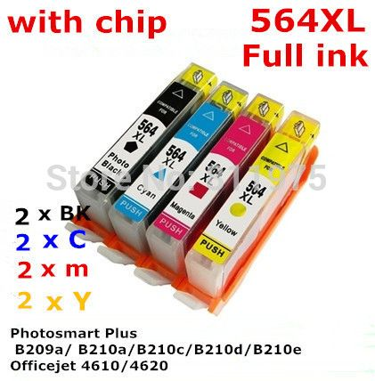 $24.90 (Buy here: http://appdeal.ru/8umq ) 8 ink 564 564XL Compatible ink cartridge with chip For hp Photosmart B209a B210a B210c B210d B210e Officejet 4610 4620 printer for just $24.90