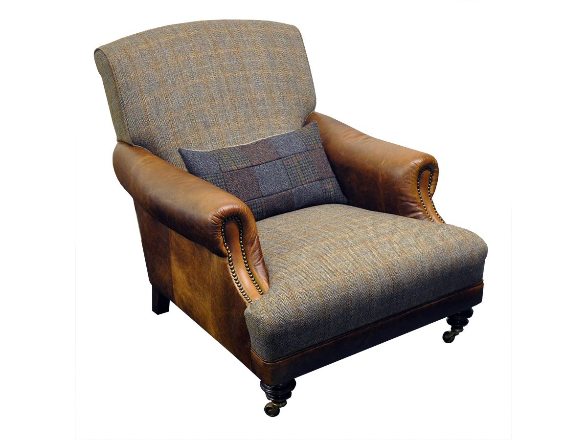 Gents Leather And Tweed Chair