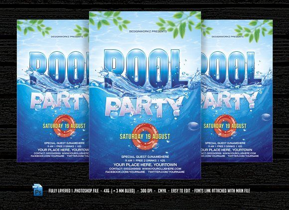 Pool Party  Beach Party Flyer By Designworkz On Creativemarket
