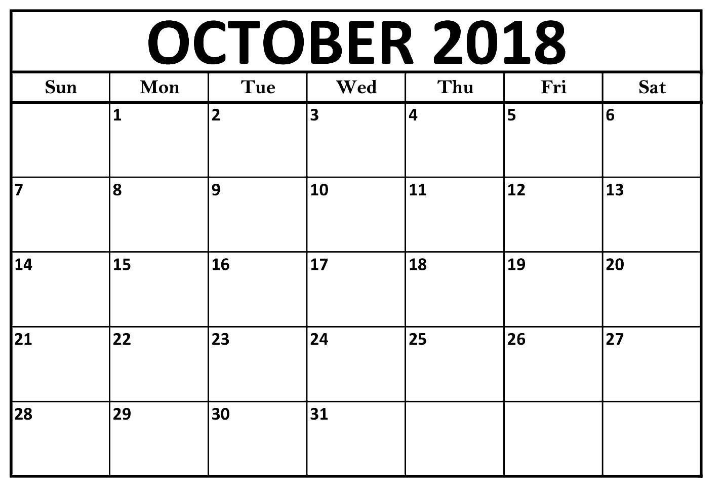 graphic regarding October Calendar Printable named Oct Calendar 2018 Major Print Template Oct