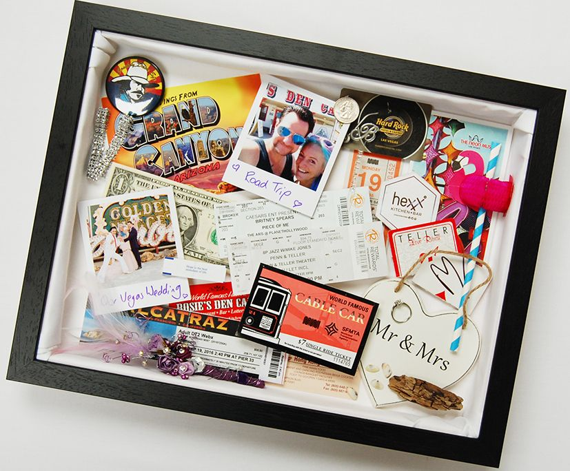 A memory shadow box frame incorporating mementoes and keepsakes from ...
