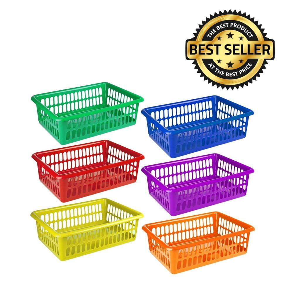 6Pack Plastic Colorful Storage Baskets Organizer Bins Paper Office Supplies  Toys