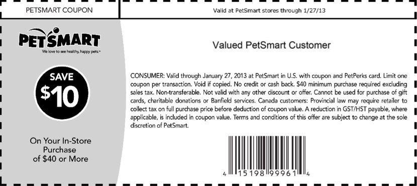 Petsmart 10 Off 40 Printable Coupon Petsmart Printable Coupons Coupons