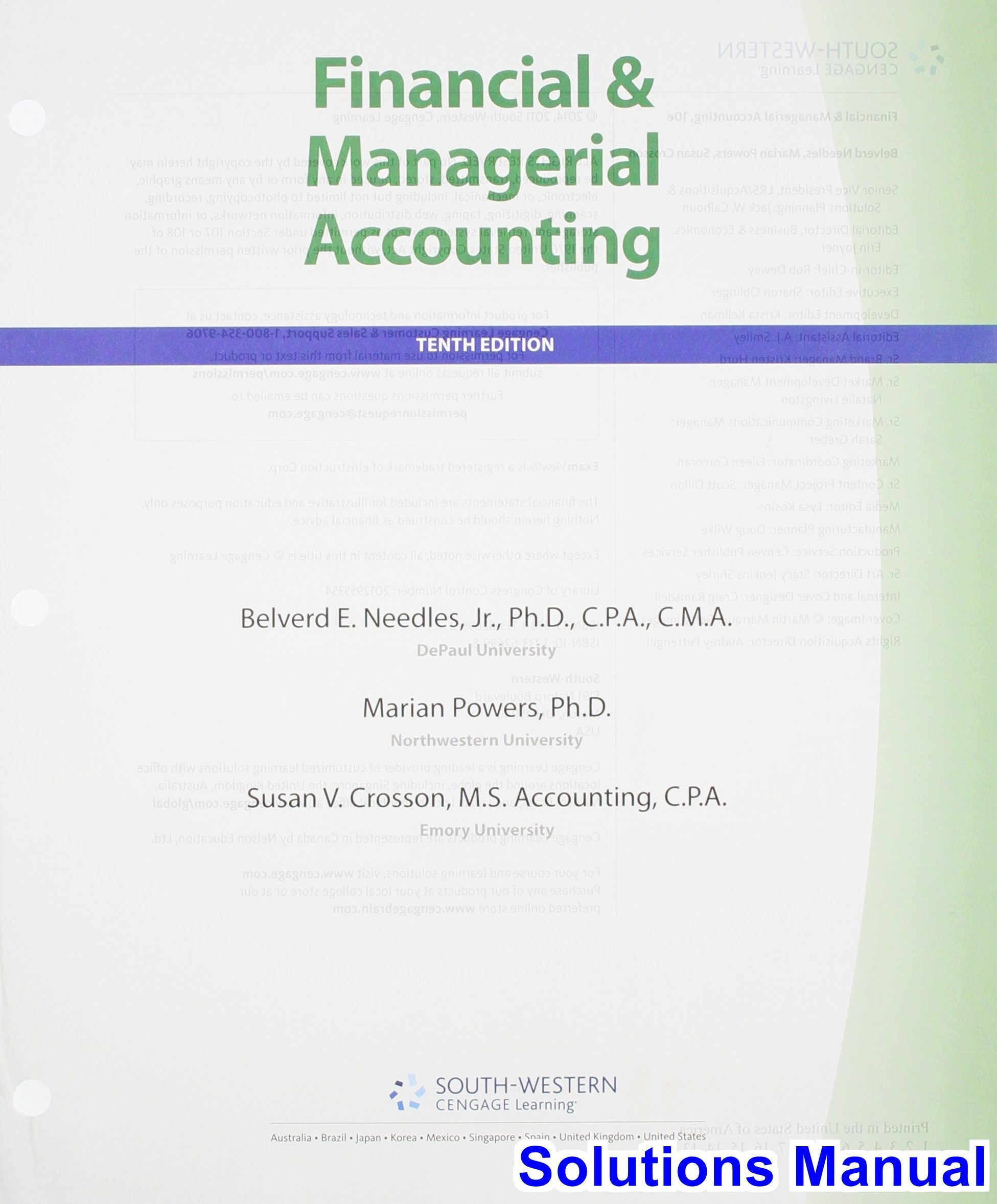 Financial and Managerial Accounting 10th Edition Needles Solutions Manual -  Test bank, Solutions manual,