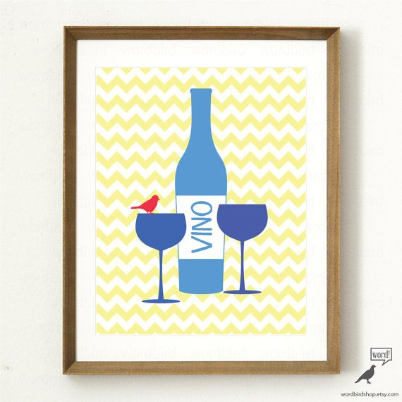 Blue Wine Print Yellow and Blue Kitchen Decor Wine by WordBirdShop ...