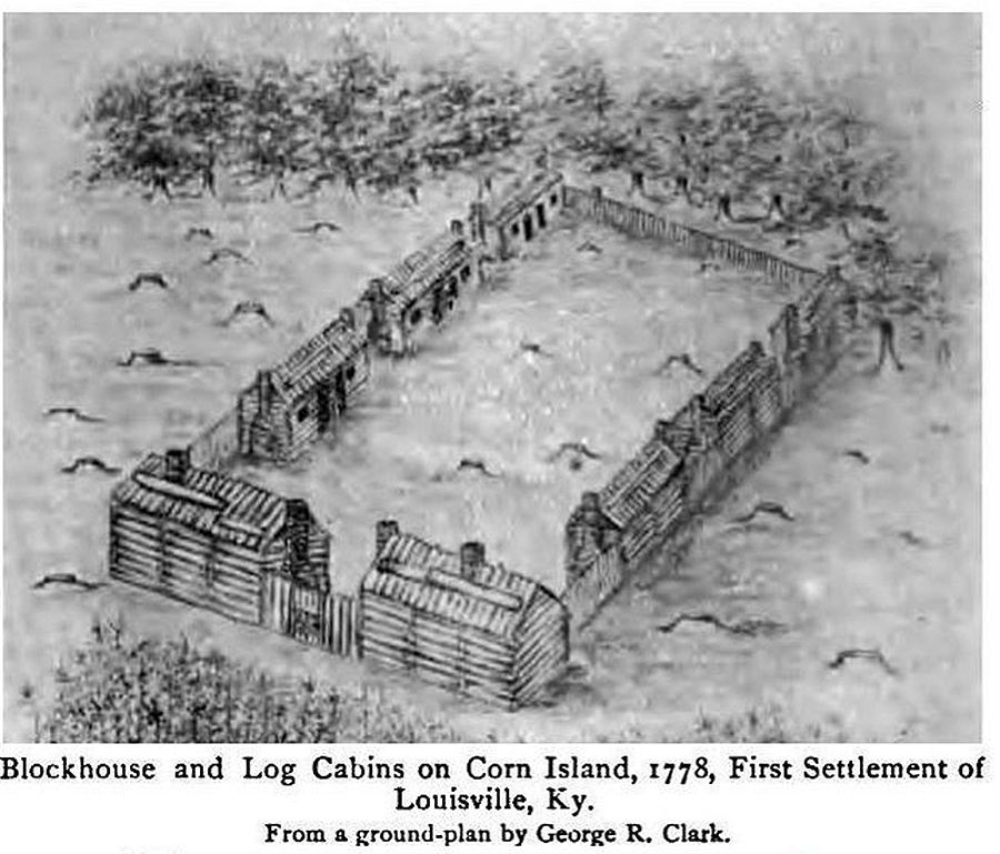 Blockhouse And Log Cabins On Corn Island, First Settlement In Louisville, Ky .,
