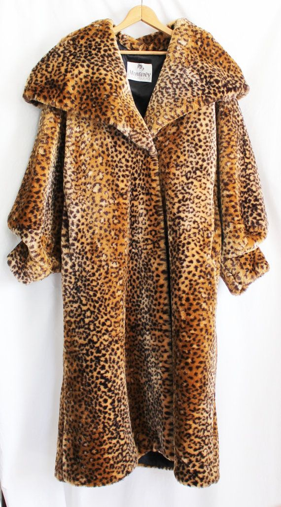 Vintage Monterey Fashions Faux Fur Coat Size Large Long Leopard     Vintage Monterey Fashions Faux Fur Coat Size by ThirdHandShoppe