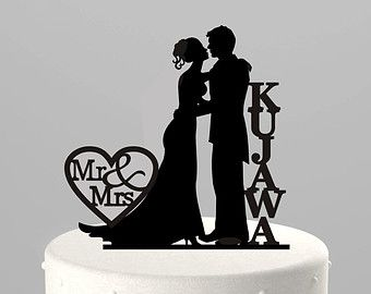 Wedding Cake Topper Silhouette Couple Mr Mrs By TrueloveAffair