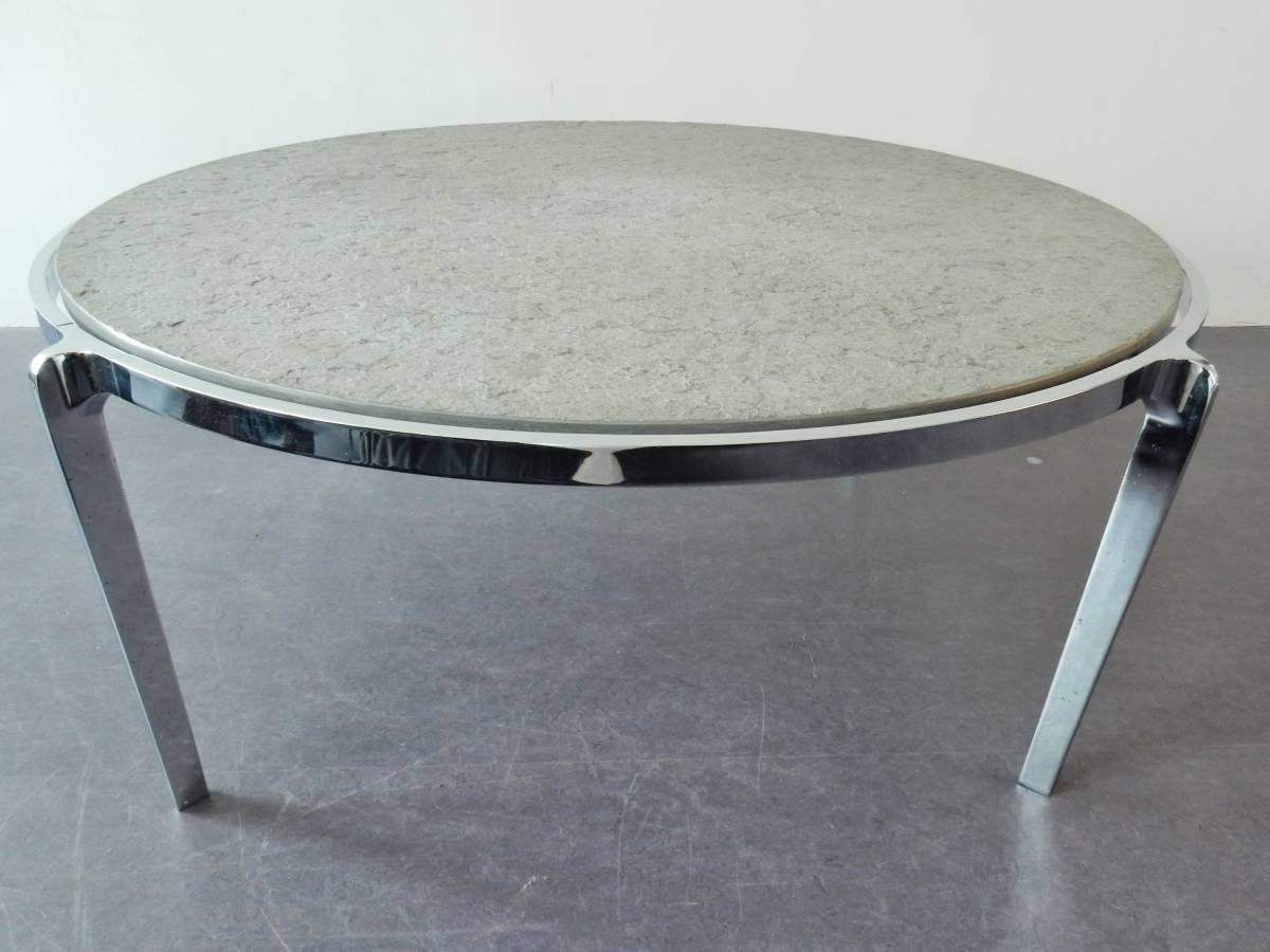 Large Round Centerpiece Coffeetable With Stone Top On A Chrome Frame 1970 S Novac Vintage Coffee Table Coffee Table Vintage Table [ 900 x 1200 Pixel ]