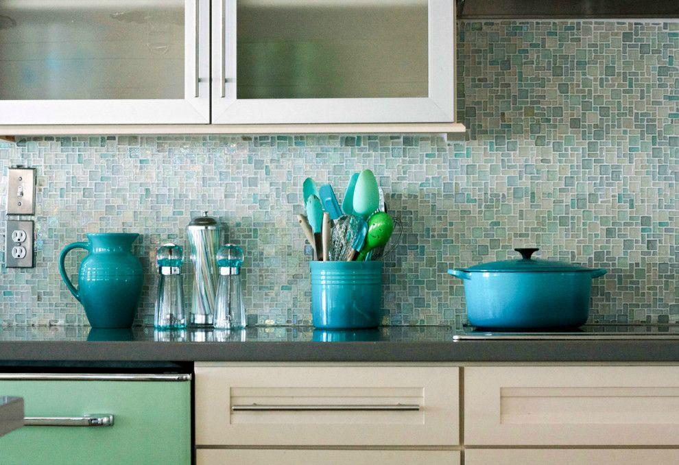 Beach Style Kitchen By Mina Brinkey    Love This Beachy Colored Glass  Backsplash