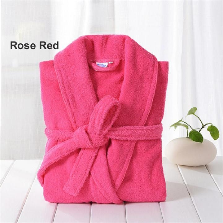 Men 100% Cotton Terry Bathrobe Lovers Solid Towel Sleepwear Long Bath Robe Kimono Male Dressing Gown PA1822M
