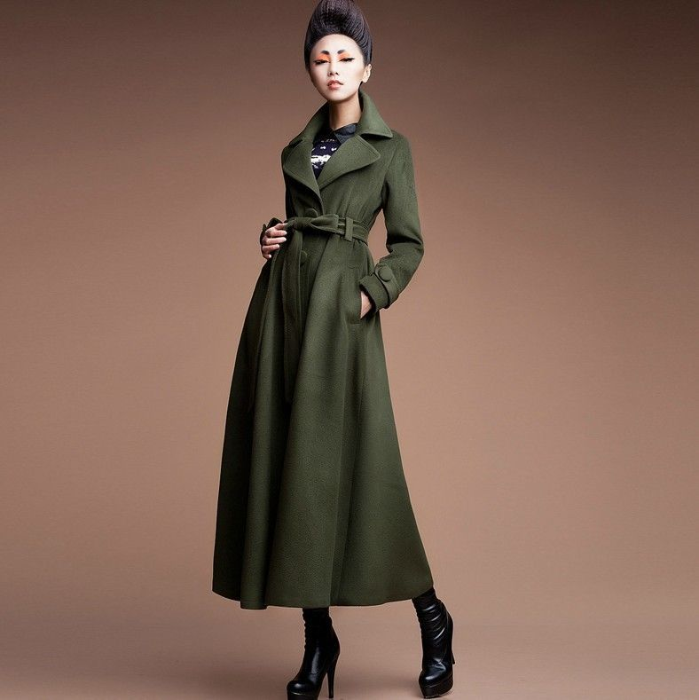 beautiful green color winter long wool coat 2014 | My Stylo ...