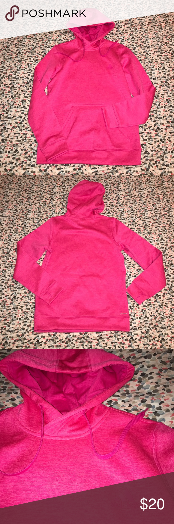 NWOT Adidas Climawarm Pink Hooded Sweatshirt Small BRAND NEW