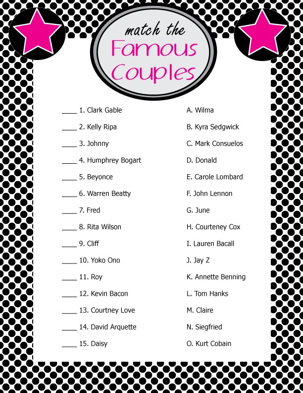 Famous Couples Bridal Shower Game Wedding Printables 1