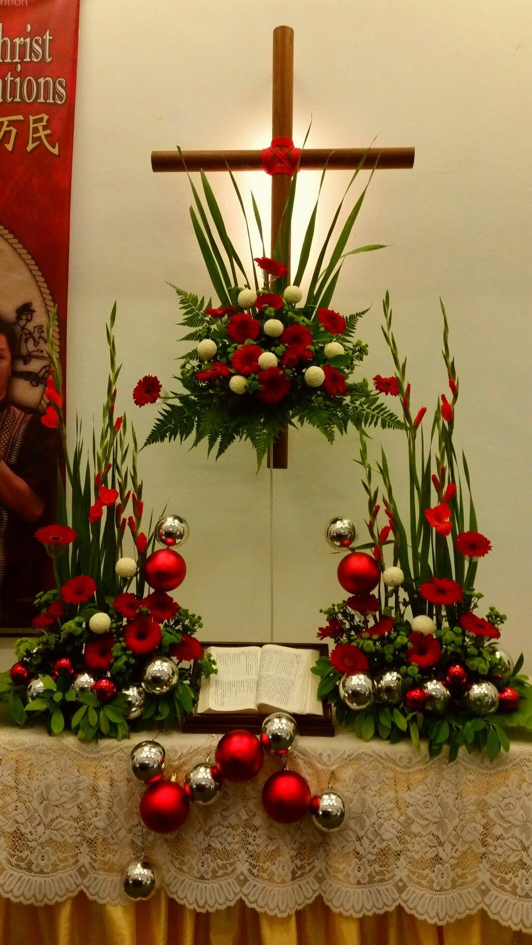 Christmas altar flower arrangements 2016 Church