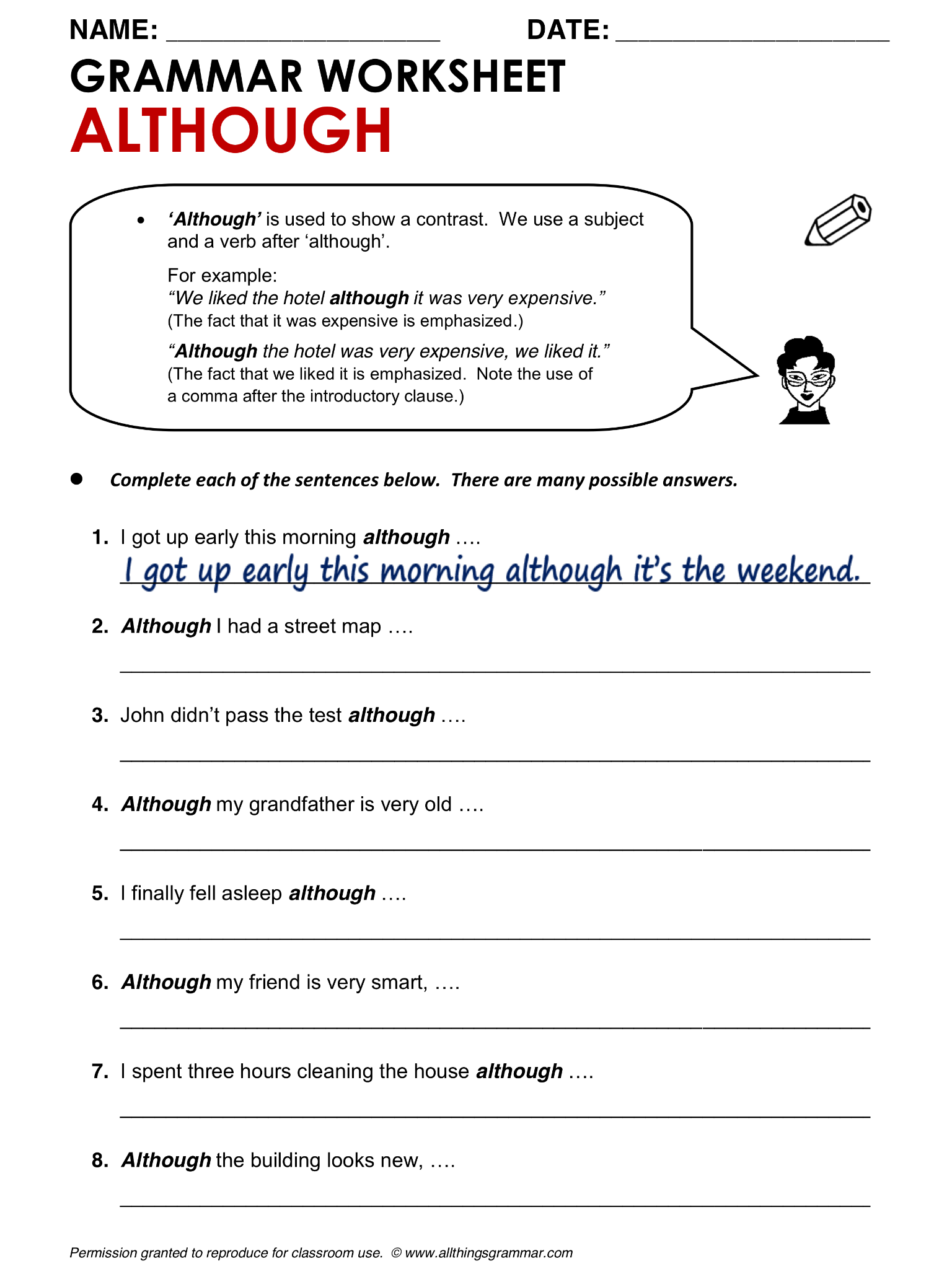 English Grammar Although Lthingsgrammar Although