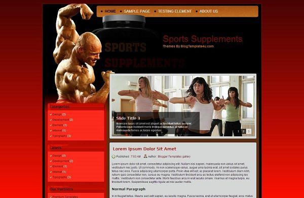 Sports Supplements Blogger Template  Sports Supplements Blogger Template - Template para blogs de saúde física, academia, esportes. Template físico forma, Template academia física
