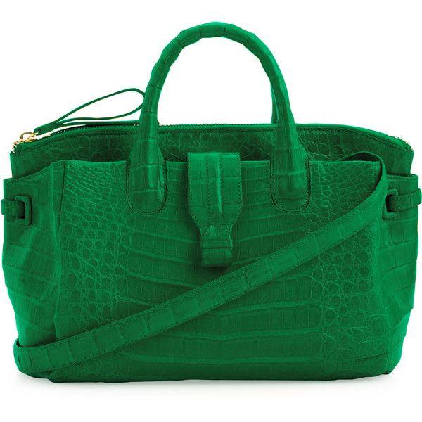 Nancy Gonzalez Medium Crocodile Satchel Bag ($2,950) ❤ liked on Polyvore featuring bags, handbags, purses, green, handbags totes, green tote, man tote bag, green satchel handbag and green purse