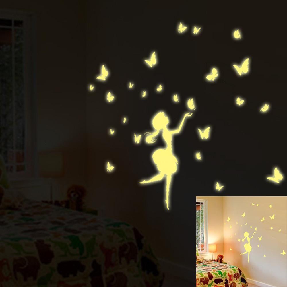 Walplus Glow in Dark Fairy Wall Stickers Art Decal Living Room DIY Decor Bedroom