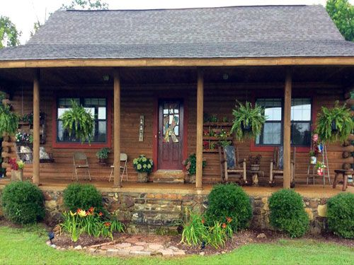 Country porch decor on pinterest country porches for Country cabin designs