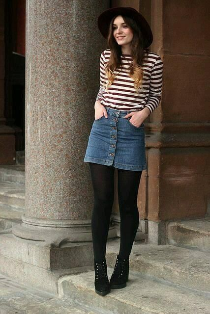 Outfits con faldas vaqueras u00c2u00a1ficha estas ideas para combinarlas!   Faldas de mezclilla ...