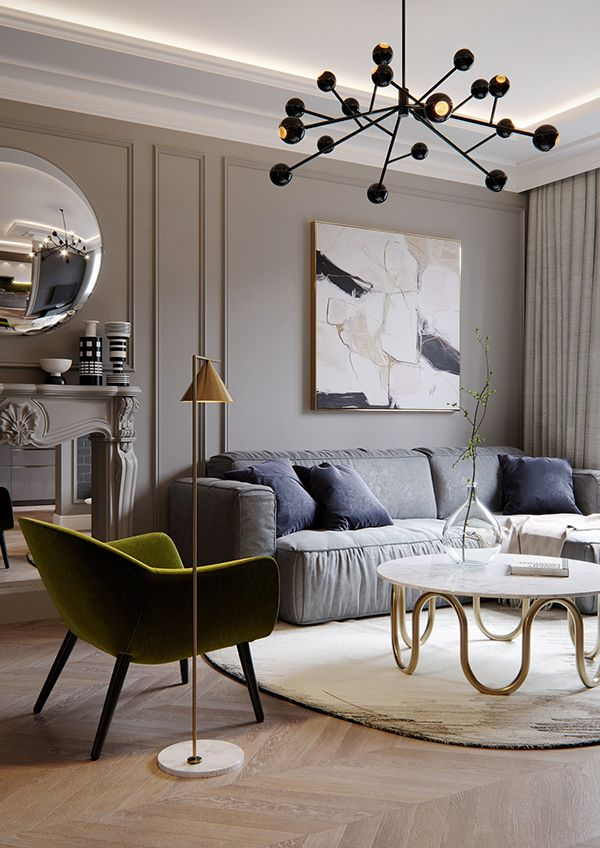 French Style Apartment On Behance Living Room Designs House Interior Living Room Ceiling