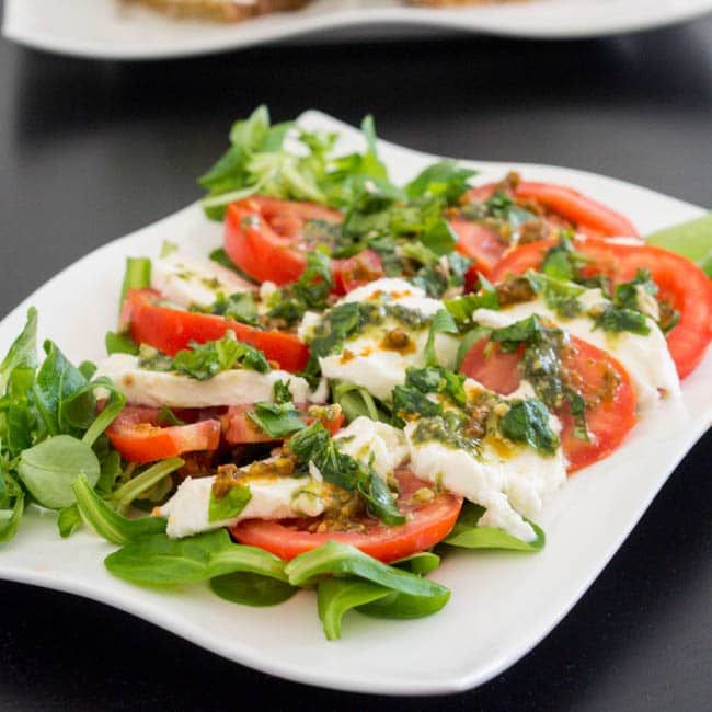 Caprese Salad with Pesto This Salad with Pesto is a best for our Lunch made with wholesome ingredients Dairy Gluten Free grain free and paleo too Our salad with pesto dre...