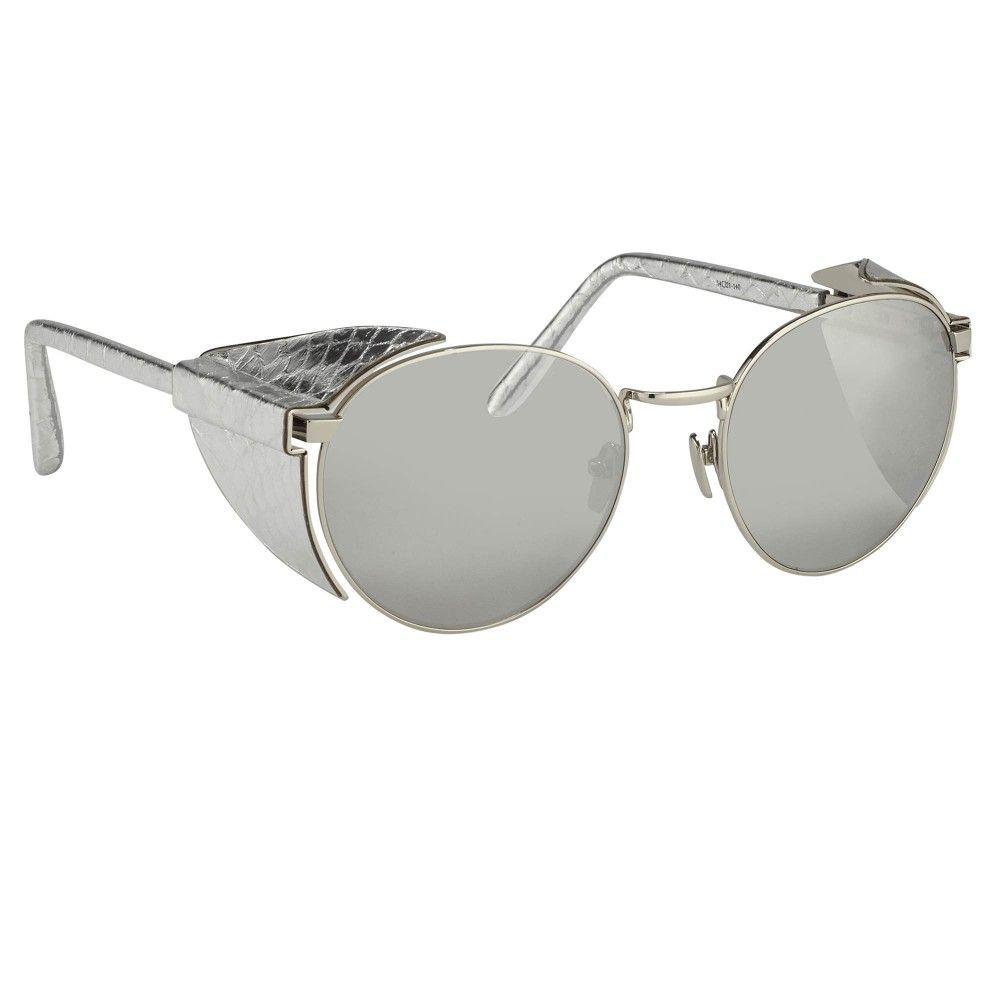 90433358757 Linda Farrow 300-White Gold   Silver Snakeskin - Sunglasses - SHOP BY  CATEGORY - Women - Linda Farrow
