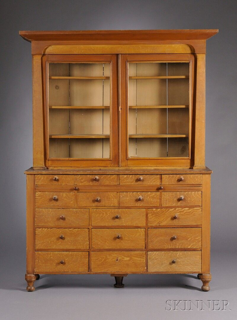 Classical Grain Painted Glazed Two Part Apothecary Cupboard | Sale Number  2608M, Lot