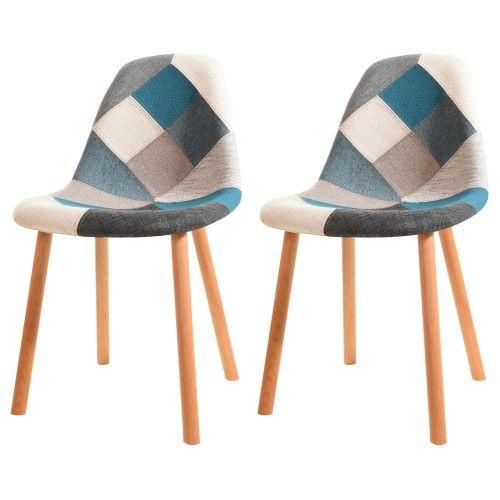 Chaise Arctik Patchwork Bleue Lot De 2 Adoptez Nos Chaises Arctik Patchwork Bleues Lot De 2 Rdv Deco Chaises Scandinaves Tissu Chaise Chaise Design