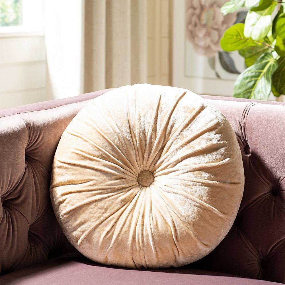 """Safavieh Caramia 15"""" Round Pillow - Ivory/Off White"""
