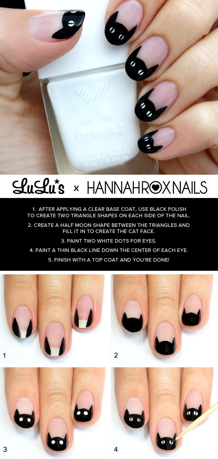 Mani Monday: Black Cat French Nail Tutorial | French nails, Black ...