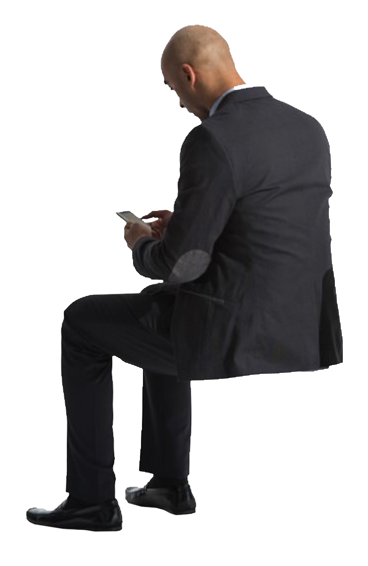 person sitting in chair back view png. Cutout Man Sitting Phone Back Person In Chair View Png S