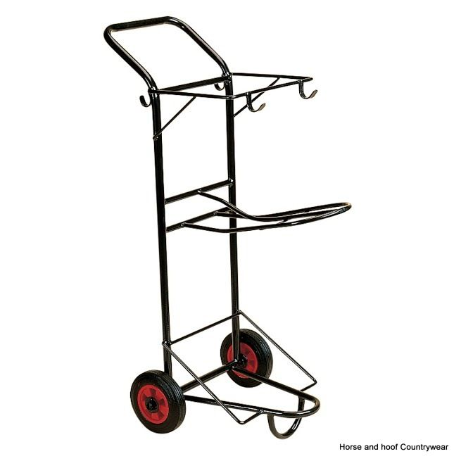 Stubbs Original Tack Trolley S57TF Very convenient tack transporter with bridle hooks and saddle rack Height 124cm Width 54cm Depth 75cm Weight 8