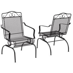 Hampton Bay Nantucket Rocking Metal Outdoor Dining Chair 2 Pack 6991700 0205157 The Home Depot