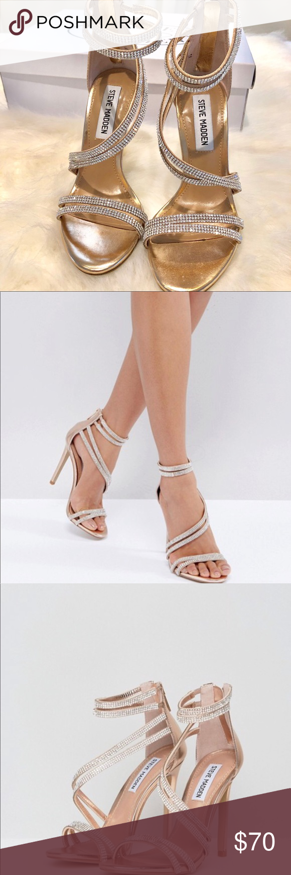 Steve Madden Sweetest heels Steve Madden Sweetest sandals Color rose gold  Size 5 Worn exactly 1 time in excellent condition Comes with original box  Perfect ... ae4e06be2e12