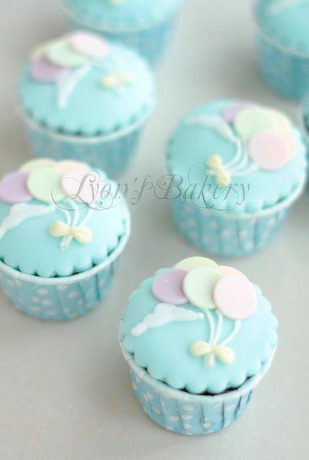Baby Shower decoraciones Bautizo 40 X Bebé Azul Magdalena Cake Toppers comestible