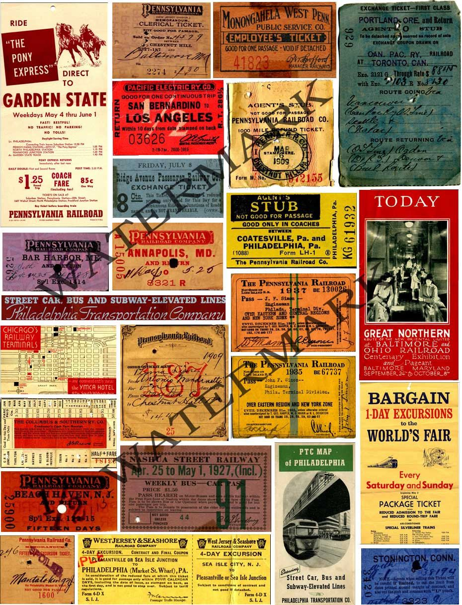 PRINTED Railroad Ticket Stubs ...