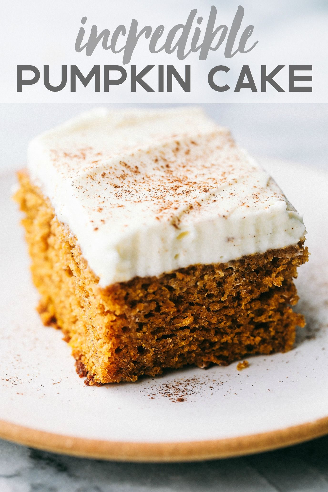Incredible Pumpkin Cake with Cream Cheese Whipping Cream Frosting #creamfrosting